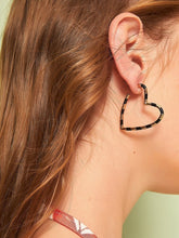 Load image into Gallery viewer, Black And Golden Heart Shaped 1 Pair Hoop Earrings