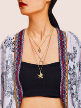 Load image into Gallery viewer, Golden 1pc Starfish & Metal Moon Pendant Layered Chain Necklace