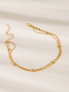 Golden Multilayered Bead Detail Chain 1pc Anklet Set