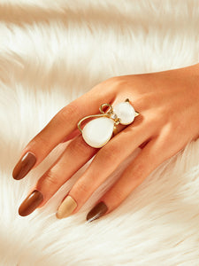 1pc White Cat Shaped Gold Ring