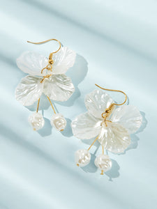 White Shell & Faux Pearl Drop 1pair Dangle Earrings