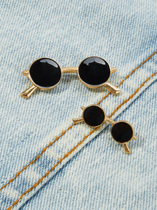 Black And Golden Sunglasses Design 2Pcs Brooch Set
