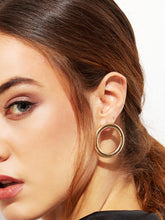 Load image into Gallery viewer, Cutout Round Golden Hoop Studs Earrings