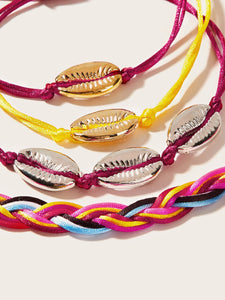 Cowrie Multicolored Shell Decor 4pcs Polyester Bracelet