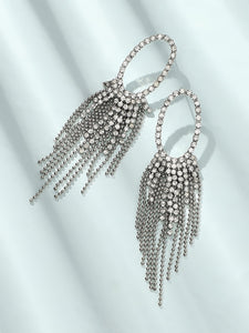 Grey 1pair Rhinestone Metal Tassel Decor Oval Drop Dangle Earrings