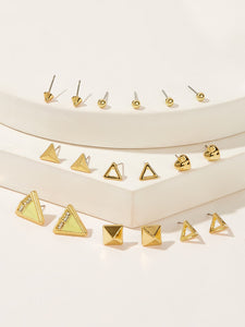 9pairs Gold Heart & Open Triangle Shaped Alloy Stud Earrings