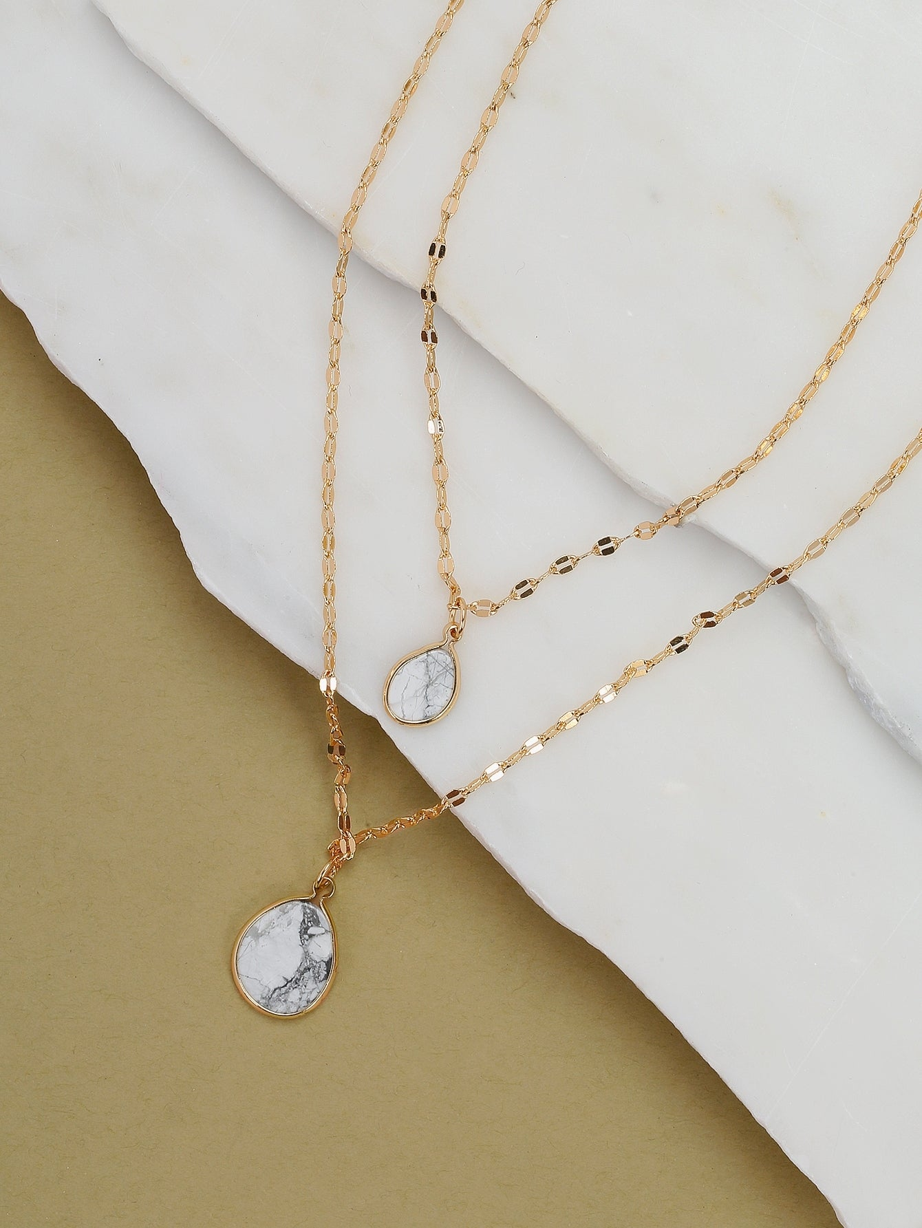 Golden Teardrop Dainty Chain Marble Pendant Necklace
