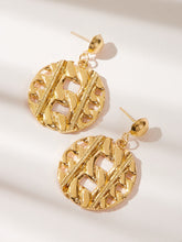 Load image into Gallery viewer, Golden 1pair Hollow Textured Disc Metal Drop Dangle Earrings