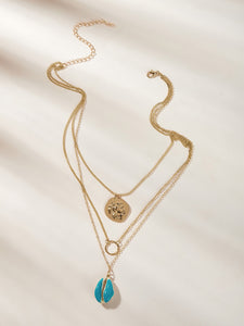 1pc Golden Triple Layered Shell & Ring Chain Pendant Necklace