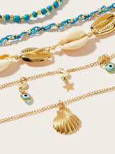 Load image into Gallery viewer, Multicolored Eye & Shell Charm 5pcs Chain Anklet