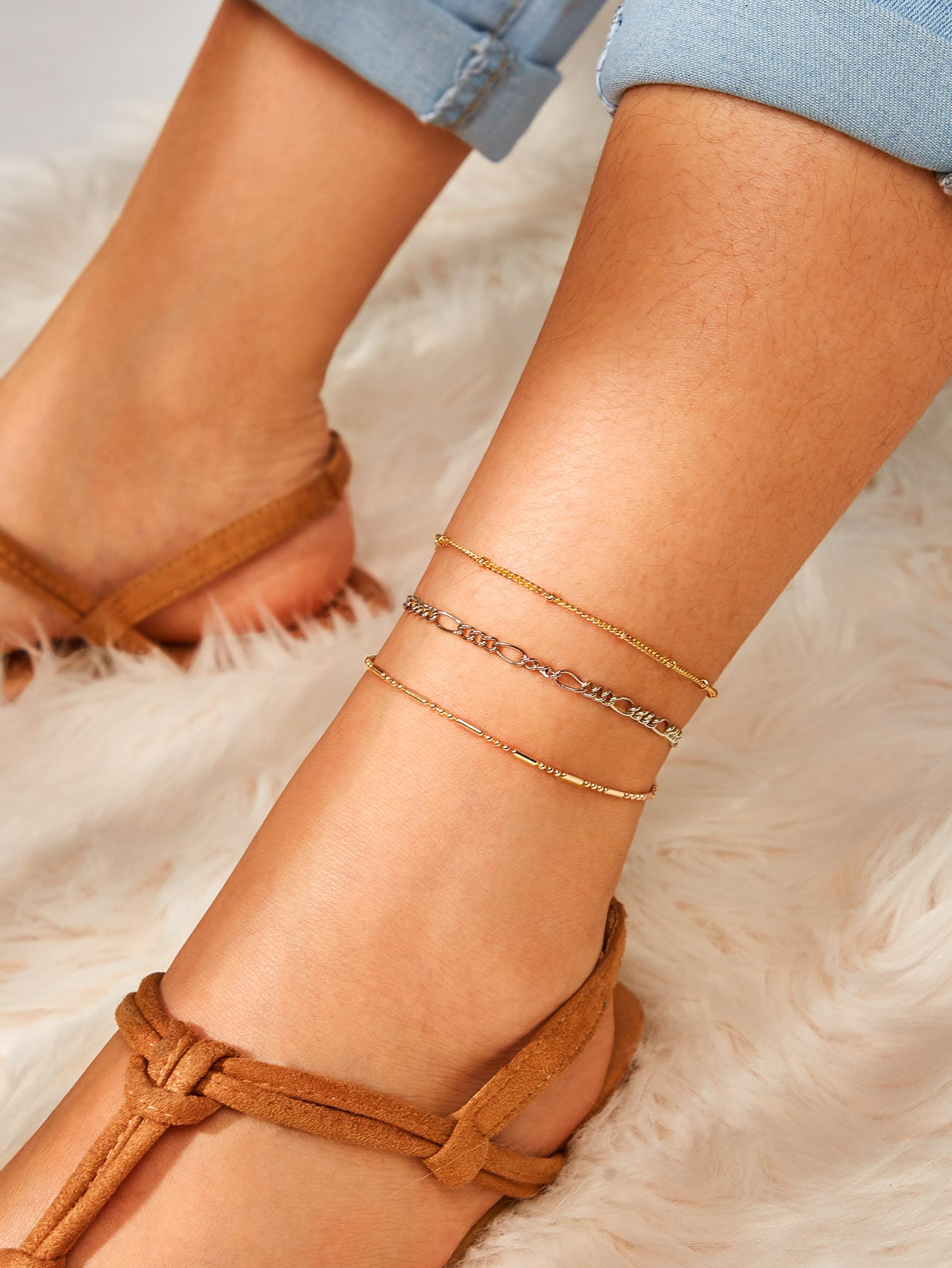 Multicolor Chain Bar Detail Anklet Set 3pcs