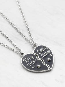 Black And Grey Friendship Heart Shaped Pendant Necklace 2pcs