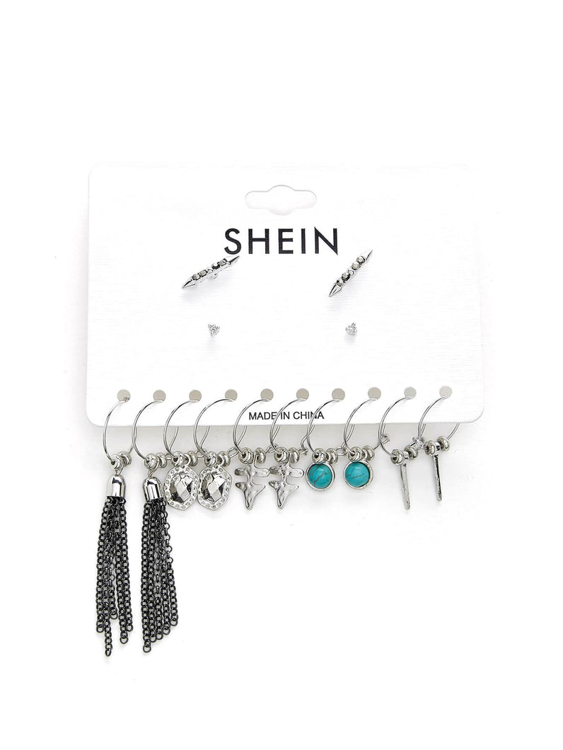 Grey Chain Dangle Earring With Tassel & Turquoise