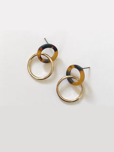 Golden Hoop Double 1 Pair Drop Dangle Earrings