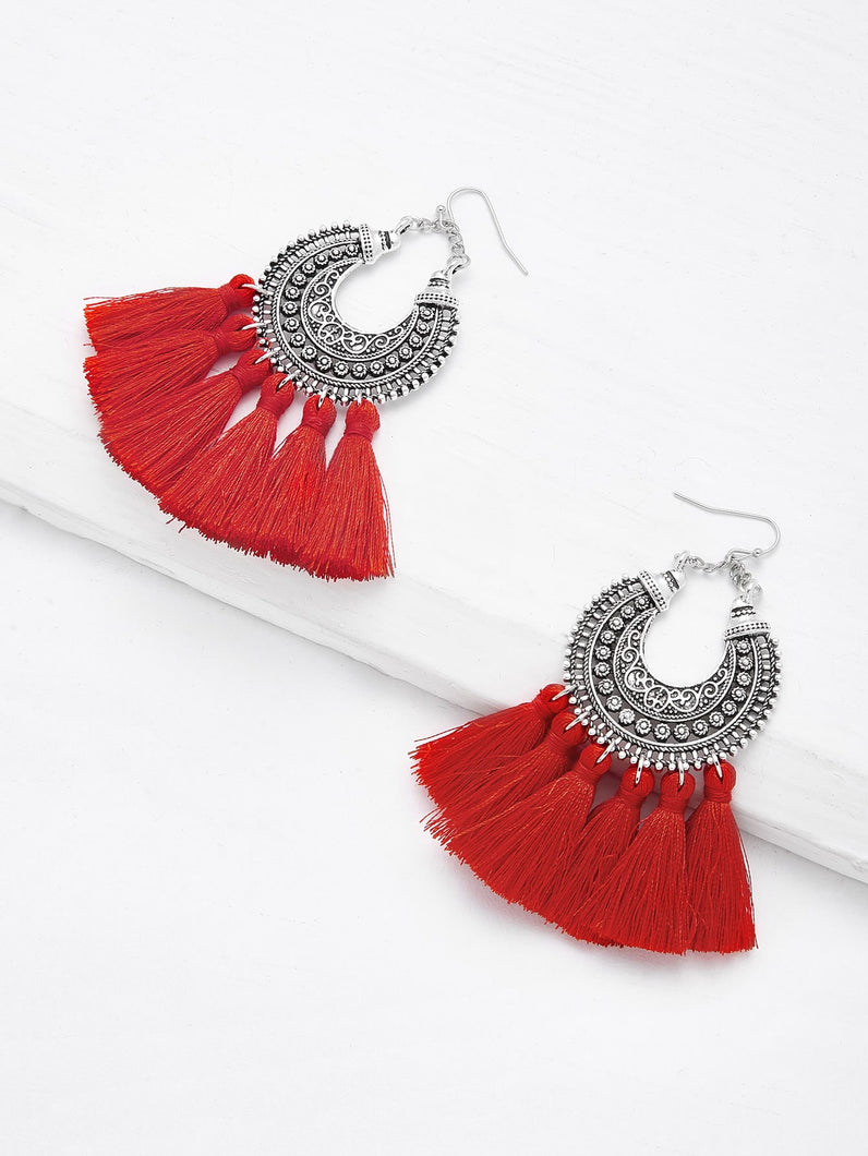 Grey Top With Red And Black Tassel Drop Dangle Earrings