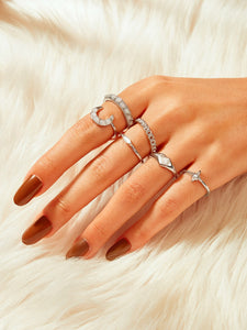 Grey Gemstone Engraved Silver Ring 6pcs