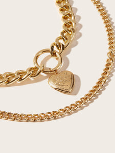 Golden Thick Double Layered Heart Pendant Chain Necklace 1pc