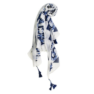 Jan Blue And White Scarf With Tassels