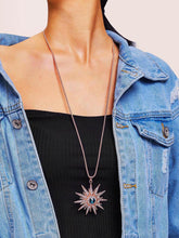 Load image into Gallery viewer, Golden 1pc Rhinestone Metal Sun Pendant Necklace