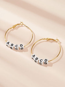 Black And White Letter Decor 1 Pair Golden Hoop Earrings