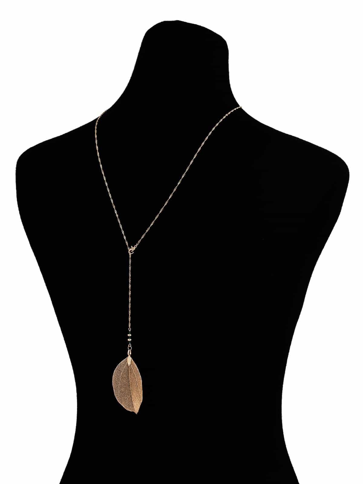 Goldn Leaf Metallic Pendant Chain Necklace