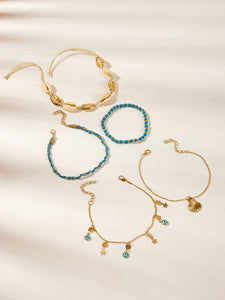 Multicolored Eye & Shell Charm 5pcs Chain Anklet