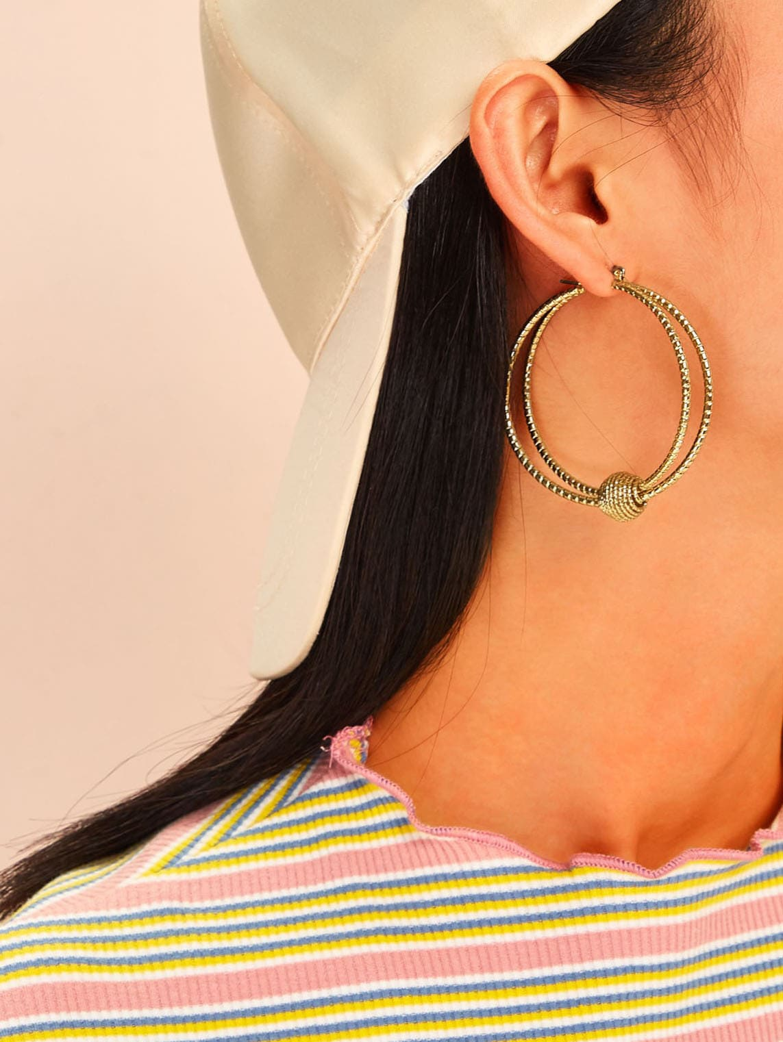Golden Hoop Double Layered 1 Pair Earrings