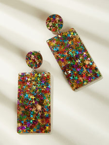 1pair Multicolor Rectangle Silver Drop Dangle Earrings