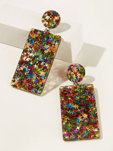 Load image into Gallery viewer, 1pair Multicolor Rectangle Silver Drop Dangle Earrings
