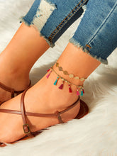 Load image into Gallery viewer, Multicolor 2pcs Tassel & Hollow Disc Decor Anklet