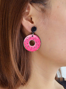 Pink Donut Creative Dangle Earrings
