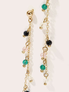 Multicolor Bead Charm With Golden Chain Drop Long Dangle Earrings 1pair
