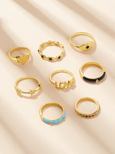 8pcs Gold Heart & Letter Gemstone Round Shaped Rings
