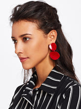 Load image into Gallery viewer, Asymmetrical Red Double Flake Dangle Earrings