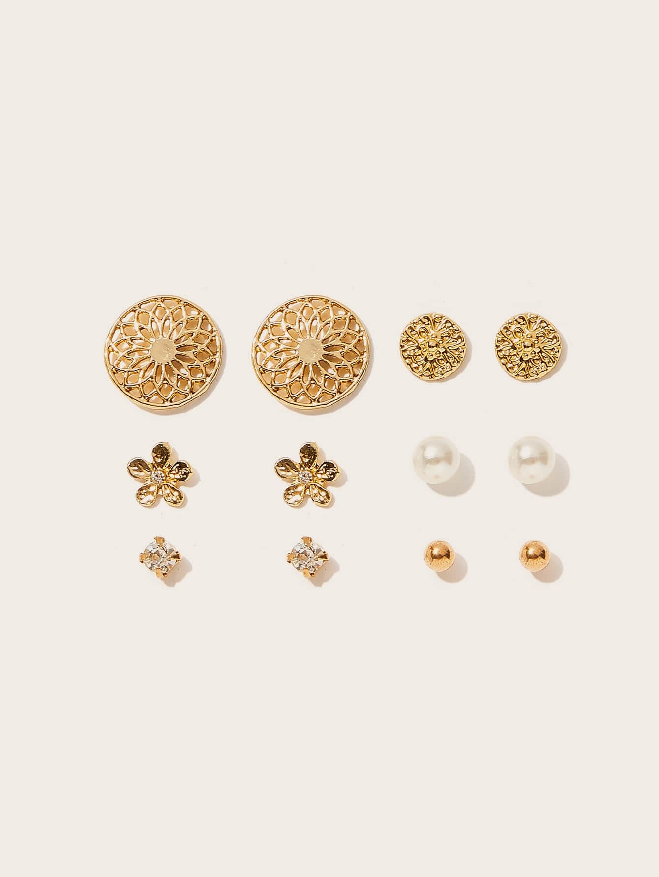 6 Pairs Golden Textured Disc & Flower Pearl Stud Earrings