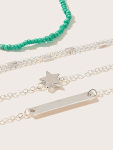Multicolor Bar & Star Charm Beaded Bracelet Set 4pack