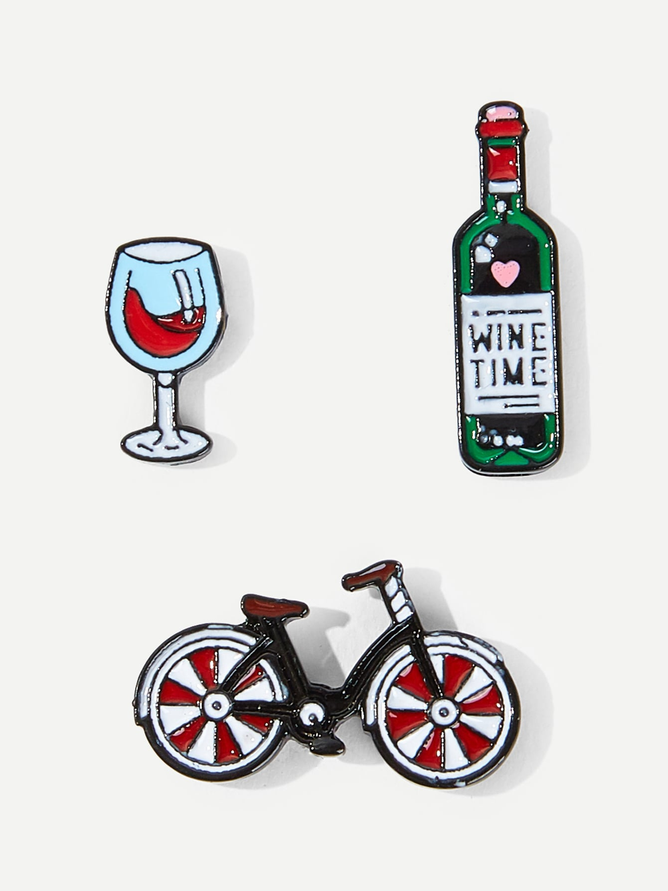 Multicolored Bicycle & Wine 3pcs Brooch Set