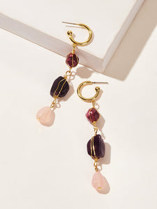 Multicolor 1pair Triple Layered Metal Stone Drop Dangle Earrings