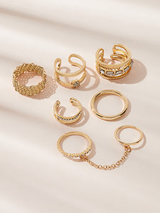 Golden 6pcs Rhinestone Decor Metal Layered Cuff Ring