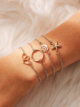 Load image into Gallery viewer, Multicolor 4pcs Ring & Seastar Charm Metal Link Chain Bracelet