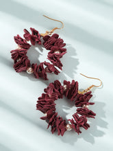 Load image into Gallery viewer, Red Floral Decor With Faux Pearl 1 Pair Hoop Earrings