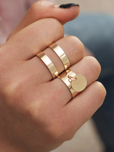 Golden Double Layered Disc Decorated 2pcs Ring
