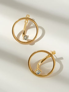 Golden Bar Detail Ring Stud Earrings With Gemstone 1pair