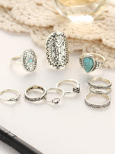 Load image into Gallery viewer, Multicolor 10pcs Retro Metal Ring Set With Turquoise