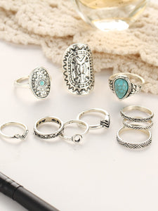 Multicolor 10pcs Retro Metal Ring Set With Turquoise