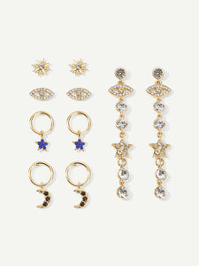 5 Pairs Golden And Blue Star & Eye Detail Dangle, Stud Earrings