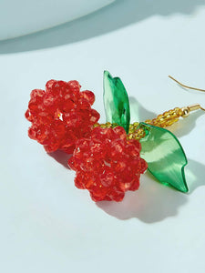 1pair Multicolor Beaded Cherry Shaped Drop Dangle Earring