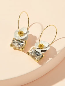 Gemstone Engraved White Floral 1 Pair Golden Hoop Drop Earrings