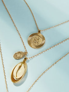 1pc Golden Multi Layered Shell & Textured Disc Pendant Chain Necklace