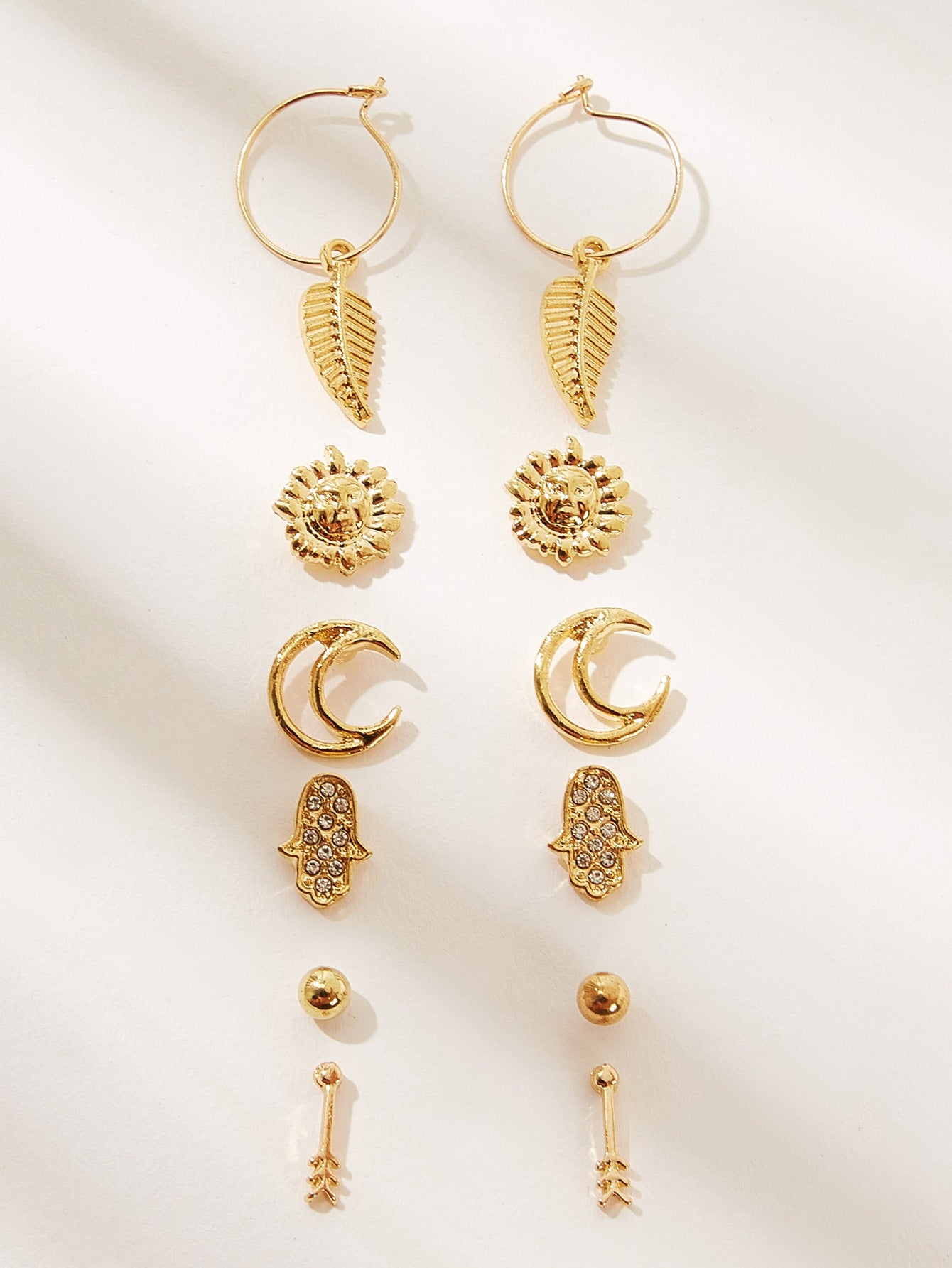 Golden 6pairs Leaf & Sun Shaped Metallic Stud Dangle Earrings